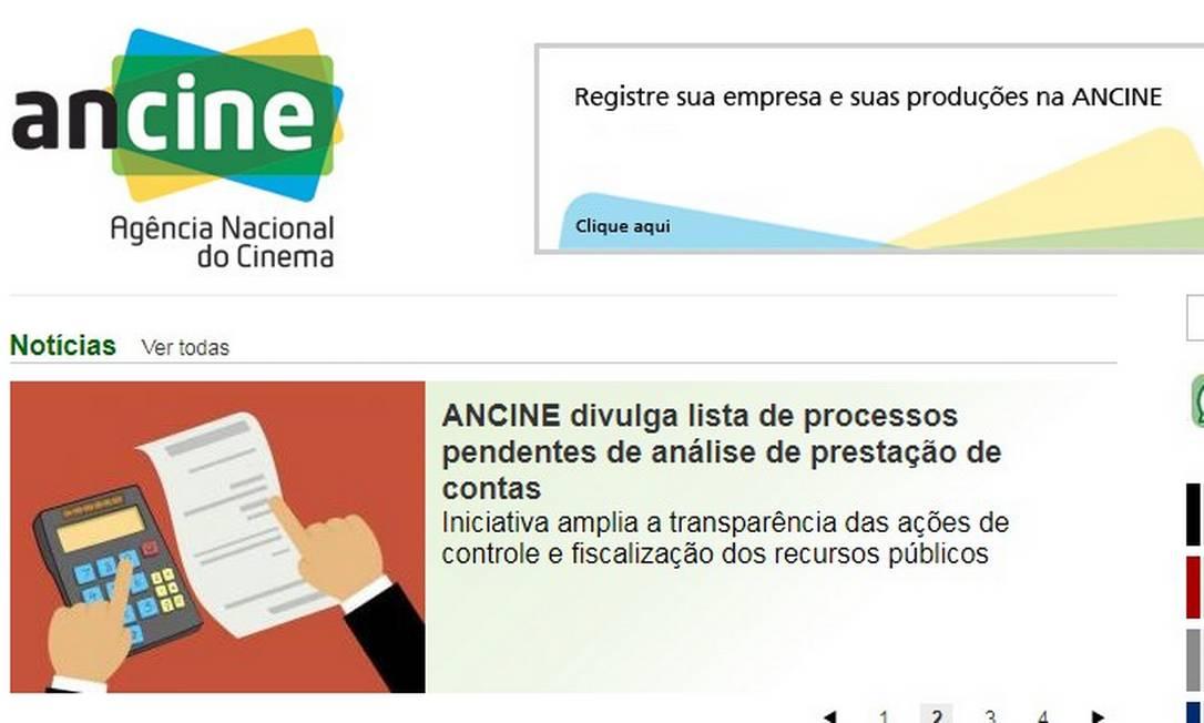 Lista de projetos pendentes no site da Ancine Foto: Reprodução