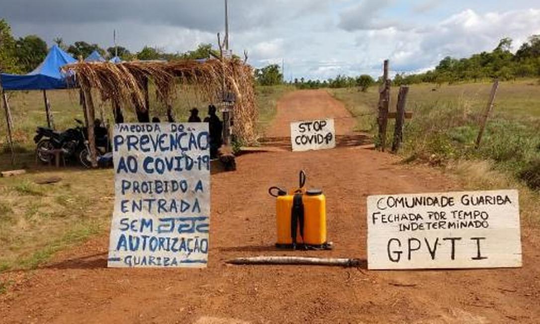 Barreira sanitária da Comunidade Guariba na Terra Indígena Araçá, em Roraima Foto: Divulgação