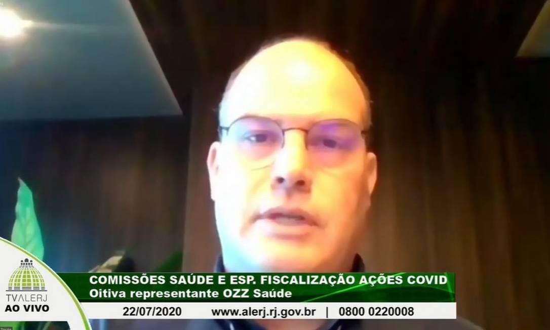 Eduardo Zardo, diretor da OZZ, em depoimento à Alerj Foto: Reprodução