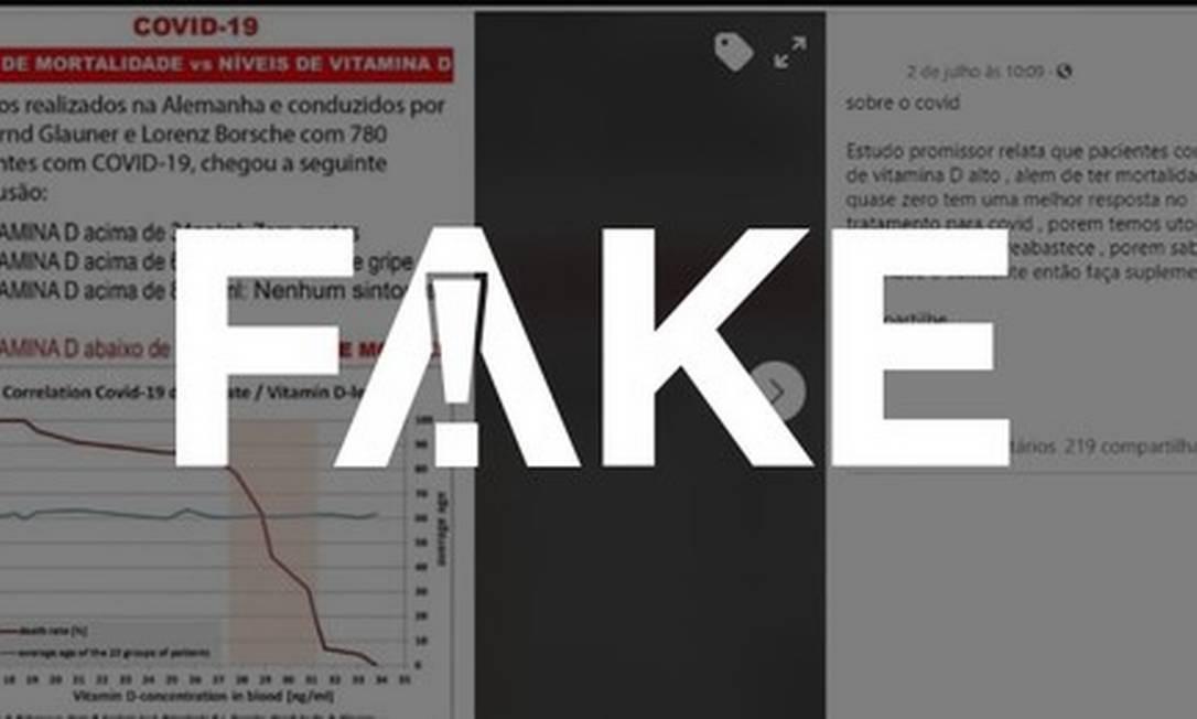 É #FAKE que alto nível de vitamina D no organismo reduza a quase zero a chance de morte pela Covid Foto: Reprodução