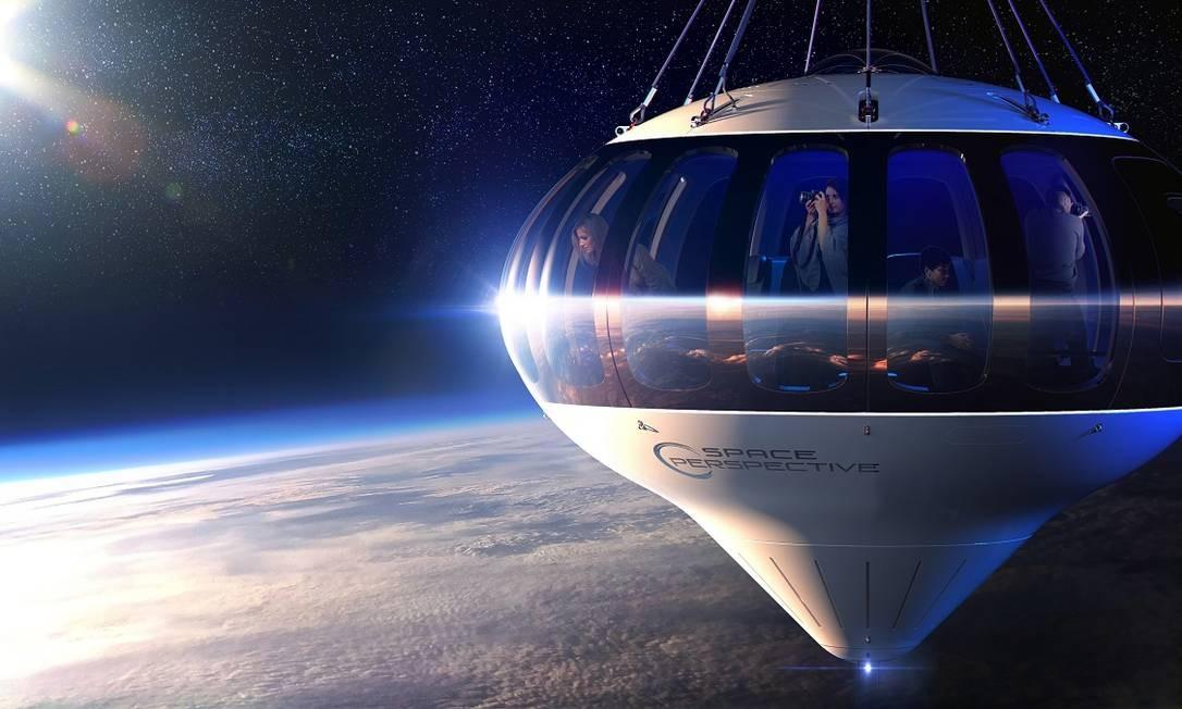 Desenho mostra como será a cápsula Spaceship Neptune, da Space Perspective Foto: Divulgação