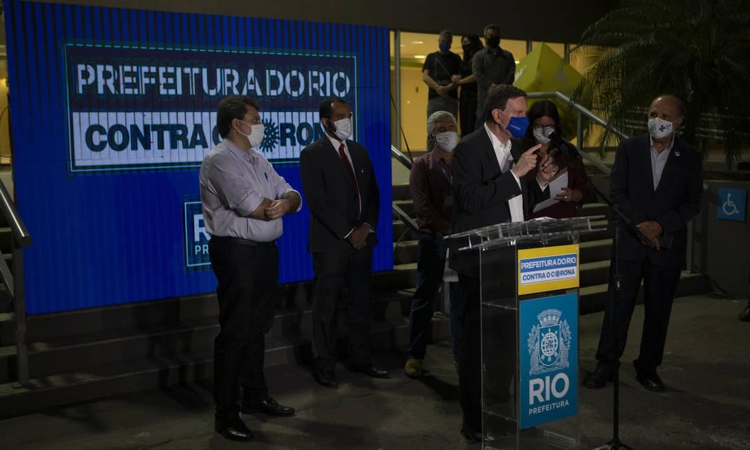 RI Rio de Janeiro (RJ) 23/07/2020 - Entrevista coletivacom o prefeito Marcelo Crivella no Riocentro. Foto Alexandre Cassiano Foto: Alexandre Cassiano / Agência O Globo