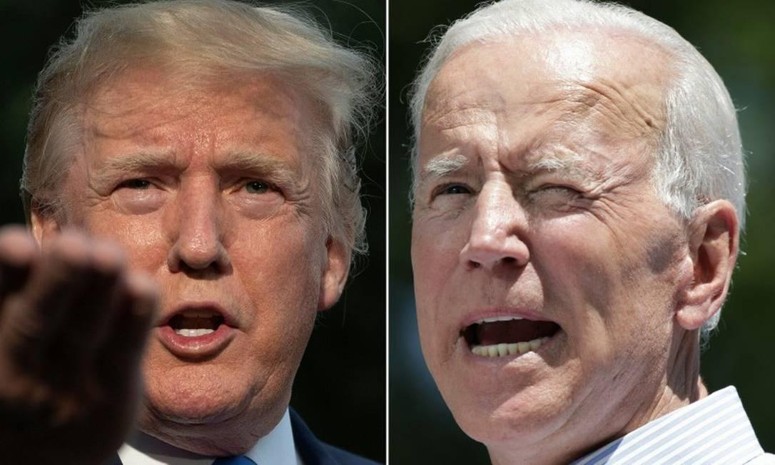 Trump e Biden: segundo pesquisas, americanos veem o candidato democrata como mais capaz de unir o país Foto: AFP