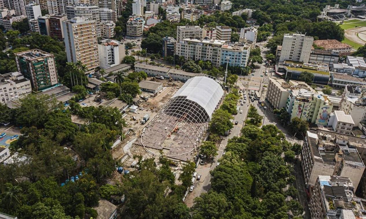 200 profissionais, em 3 turnos, ergueram em 20 dias a estrutura de 54 toneladas do Lagoa-Barra, que teve R$ 40 milhões de investimento da Rede D'Or Foto: Divulgação