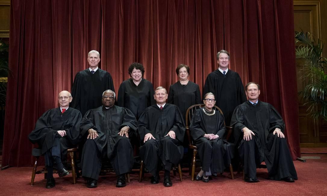 Os juízes da Suprema Corte dos EUA Foto: DOUG MILLS / NYT/30-11-2018