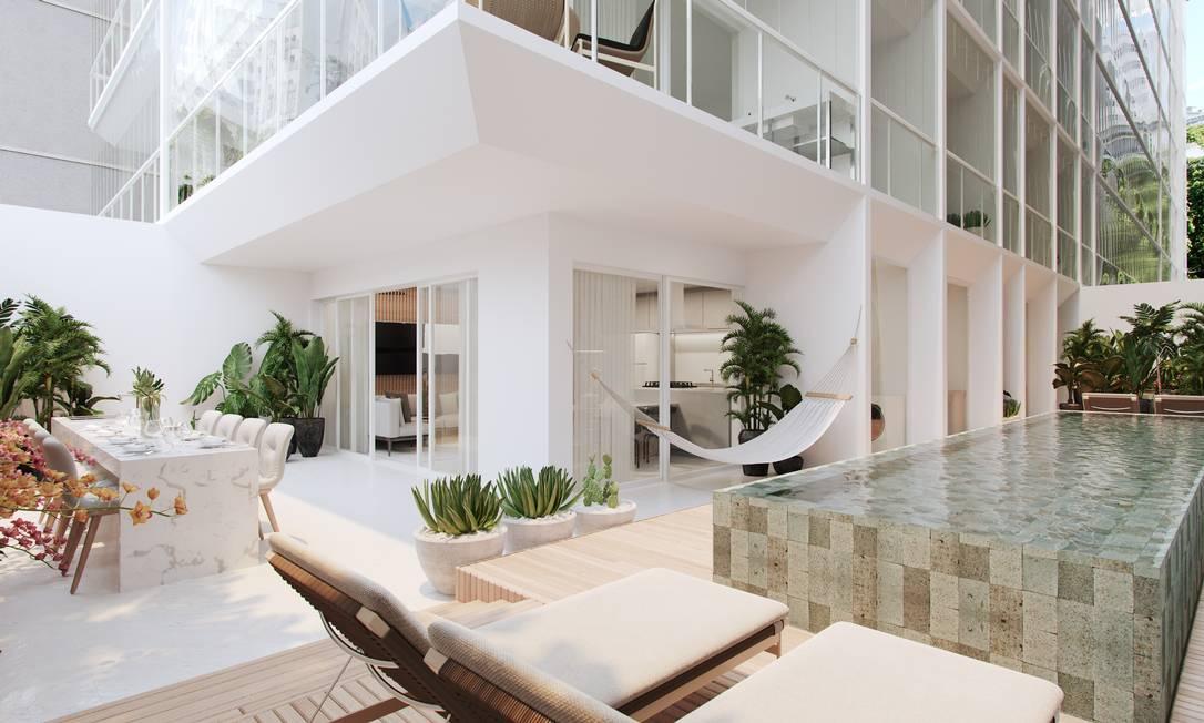 Projeção do apartamento térreo do condomínio Nove, da construtora Mozak, em Ipanema Foto: Divulgação