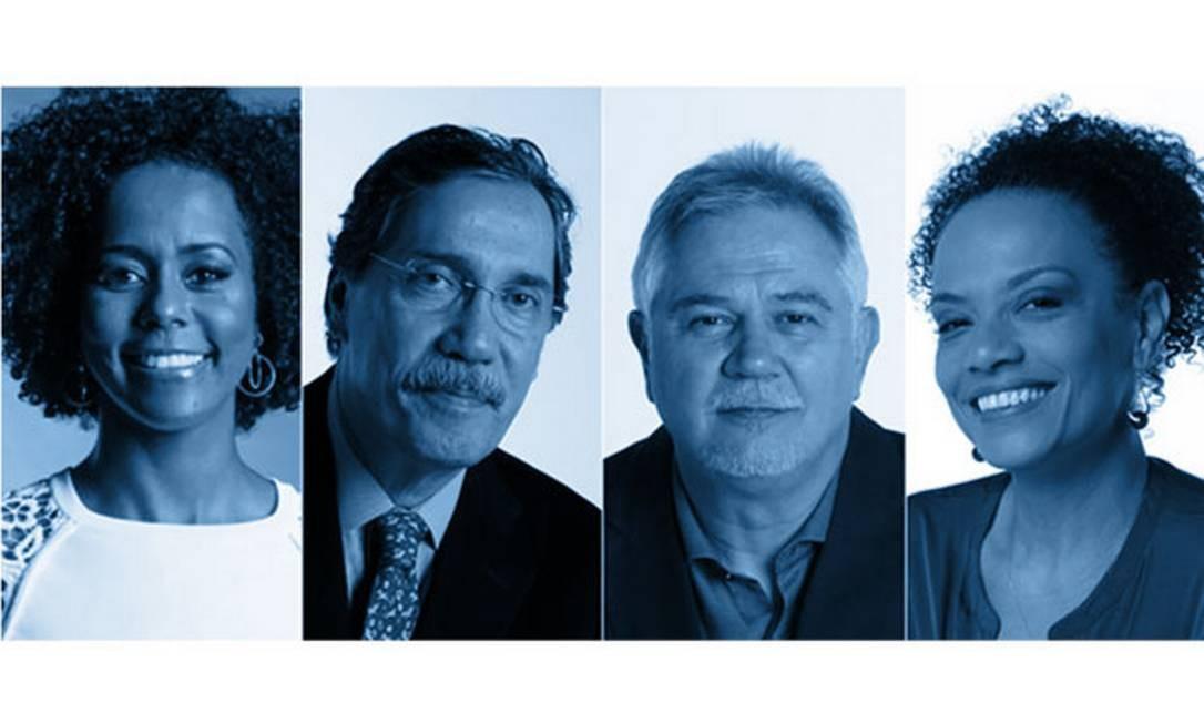 Maju Coutinho, Merval Pereira, Ascânio Seleme e Flávia Oliveira: live de sexta aborda Jornalismo para sociedade Foto: Arte / O GLOBO