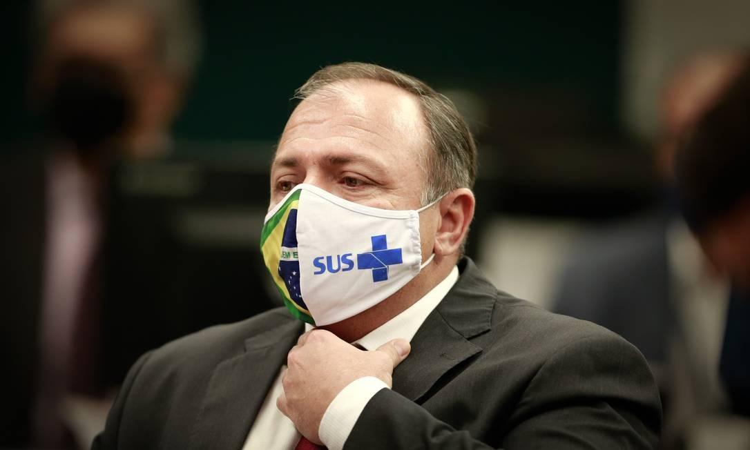 O ministro da Saúde, Eduardo Pazuello, em participação na comissão de ações contra o coronavírus da Câmara, em junho Foto: Pablo Jacob / Agência O Globo