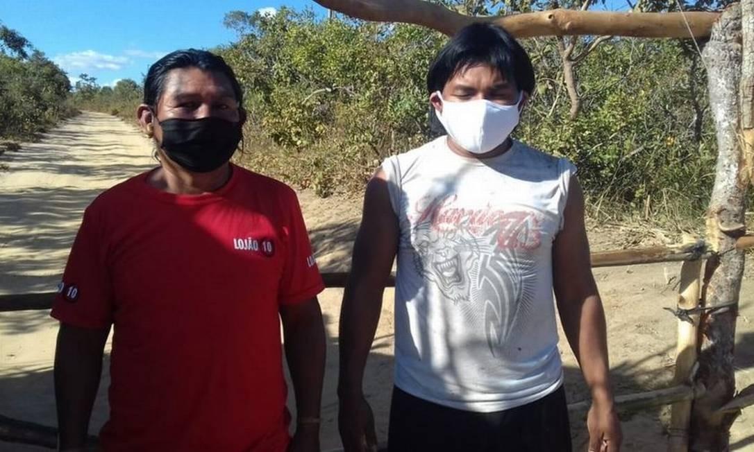 Indígenas xavantes fazem barreira sanitária em aldeia de General Carneiro (MT). Na cidade, eles são os mais afetados pelo novo coronavírus Foto: Reprodução