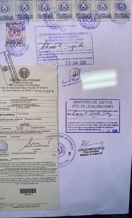 Certificado de óbito falso de Hernandes Oliveira da Silva dizia que ele morreu em 22 de junho em Assunção Foto: Divulgação Polícia Civil