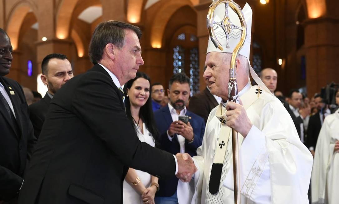 Bolsonaro com Arcebispo em Aparecida, Dom Orlando Brandes Foto: Hiago Leon / Divulgação