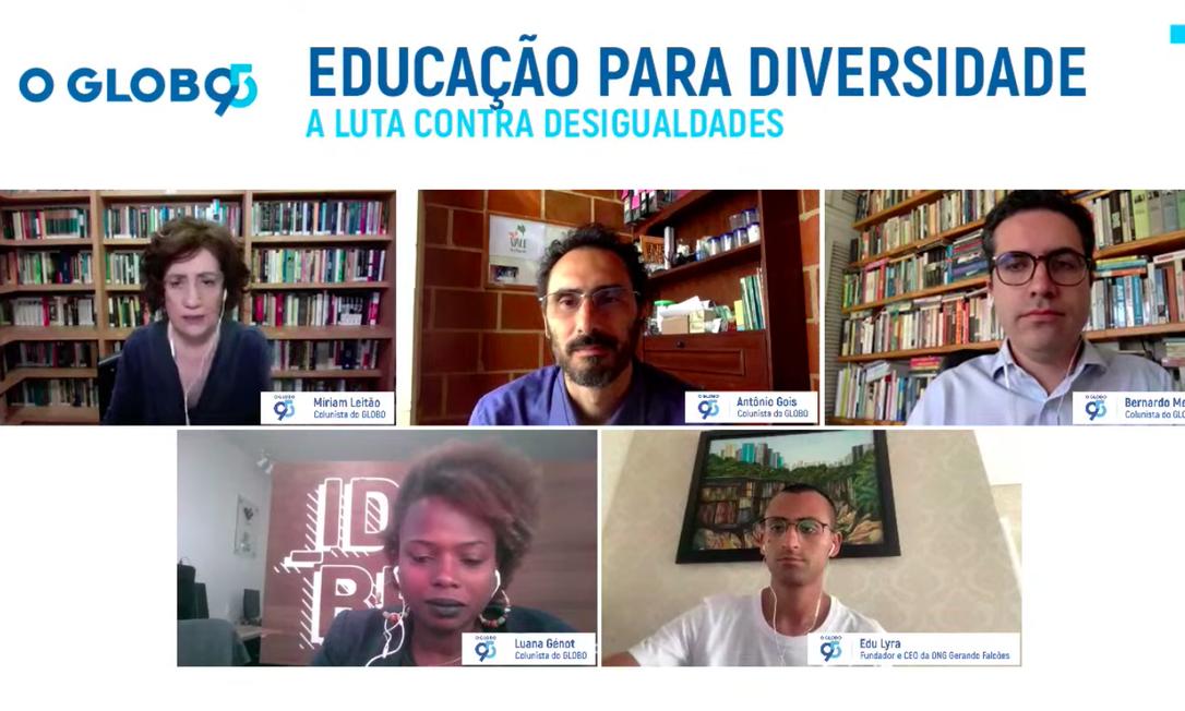 Os colunistas Míriam Leitão, Antônio Gois, Bernardo Mello Franco e Luana Génot e o CEO da ONG Gerando Falcões, Edu Lyra Foto: Reprodução