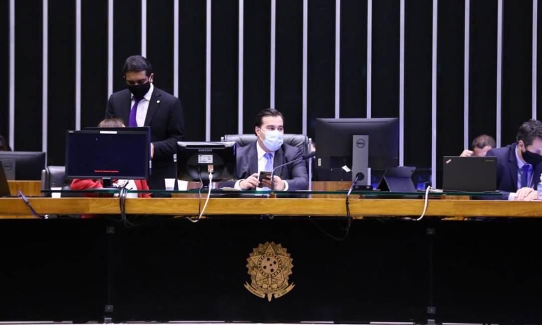 O presidente da Câmara, Rodrigo Maia, comanda sessão por videoconferência 20/07/2020 Foto: Agência Câmara