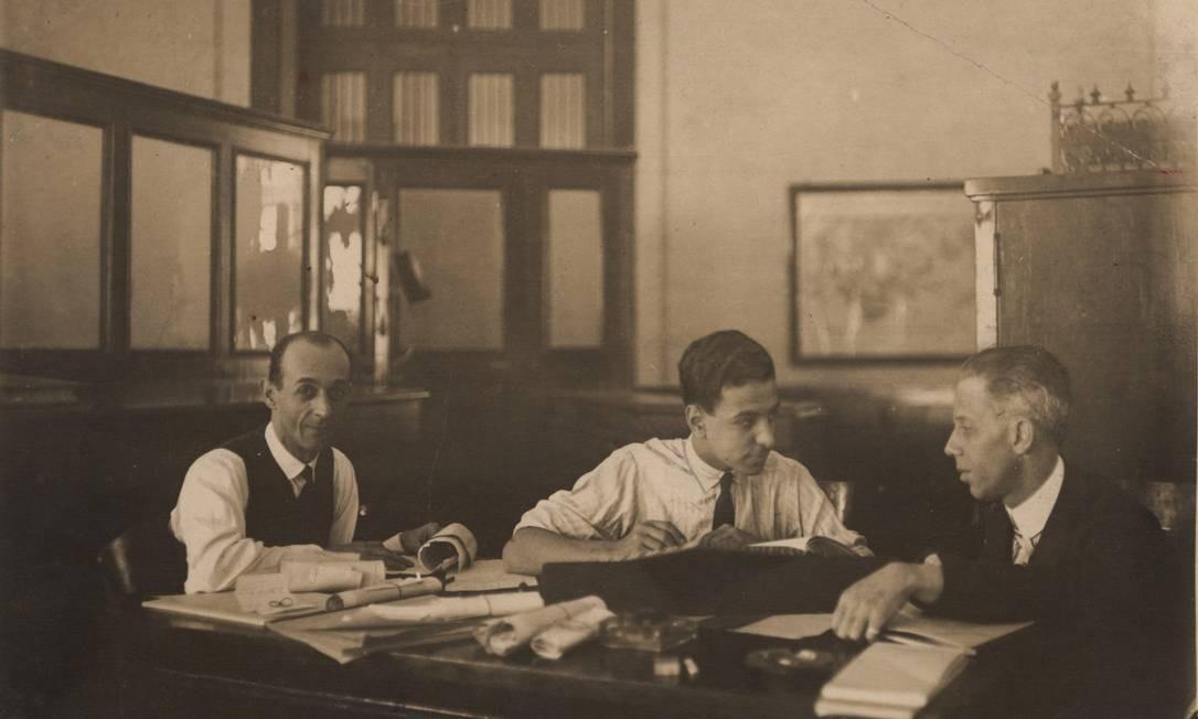 Roberto Marinho, com Herbert Moses (à direita) e Henrique Gigante. Foto: Arquivo