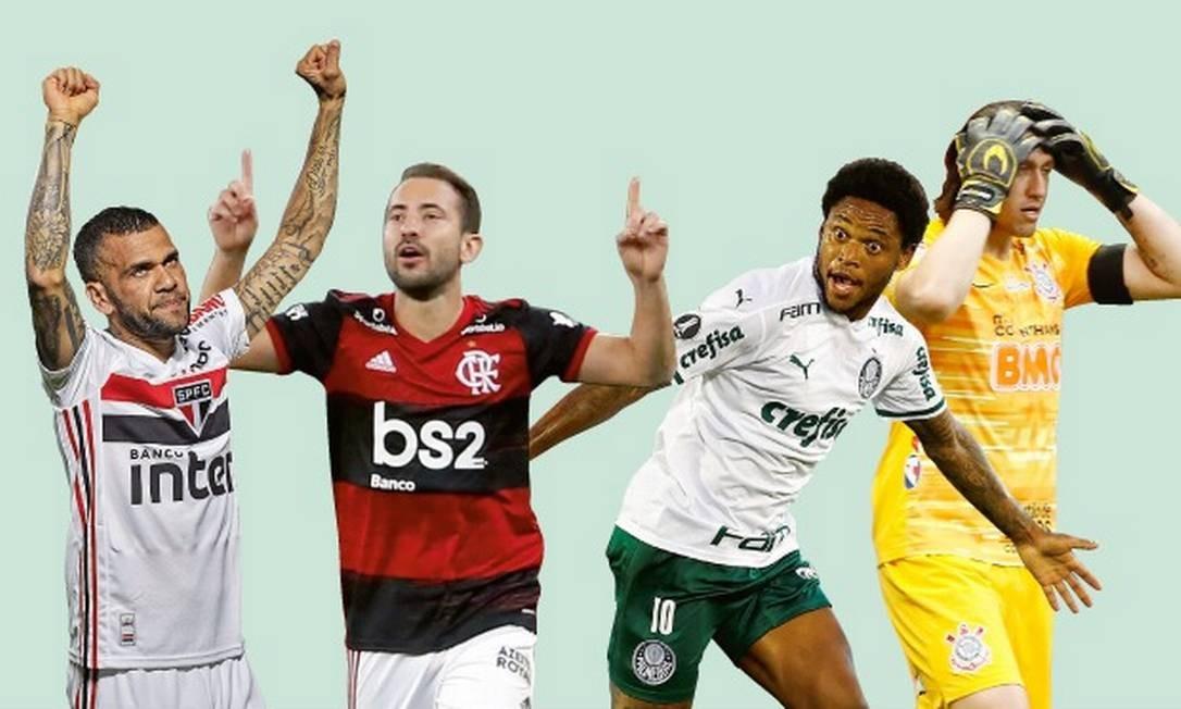 Para especialistas, São Paulo, Flamengo, Palmeiras e Corinthians devem concentrar a maior parte das taças disputadas Foto: Arte O Globo
