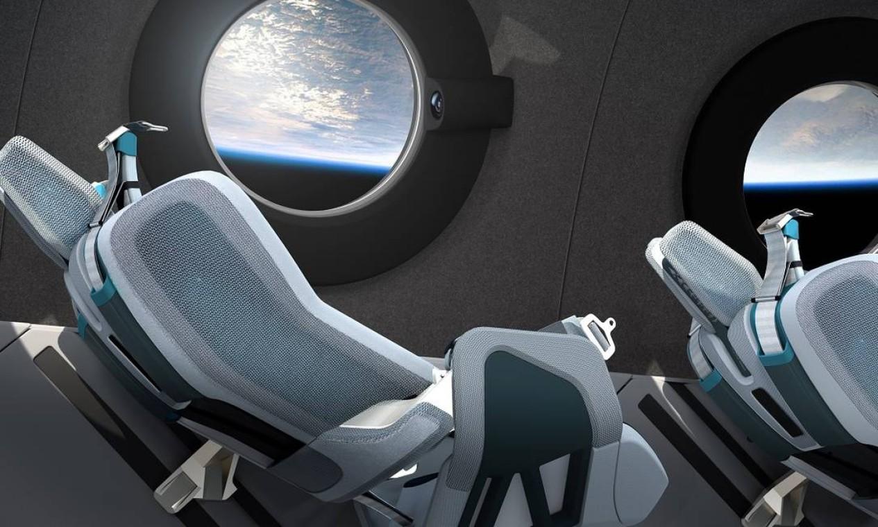 A nave da Virgin Galatic tem câmeras instaladas junto à janela para que o passageiro possa fazer selfies com a Terra ao fundo Foto: Virgin Galactic / Divulgação / Via Reuters