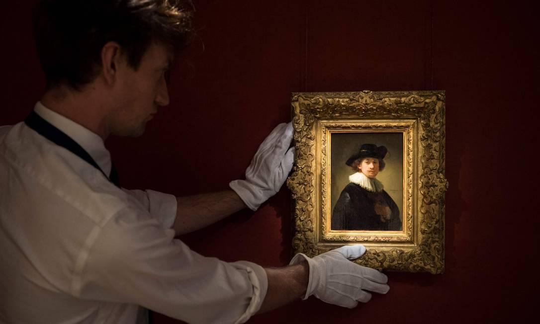 Autorretrato de Rembrandt leiloado nesta terça-feira pela Sotheby's Foto: AFP / Divulgação