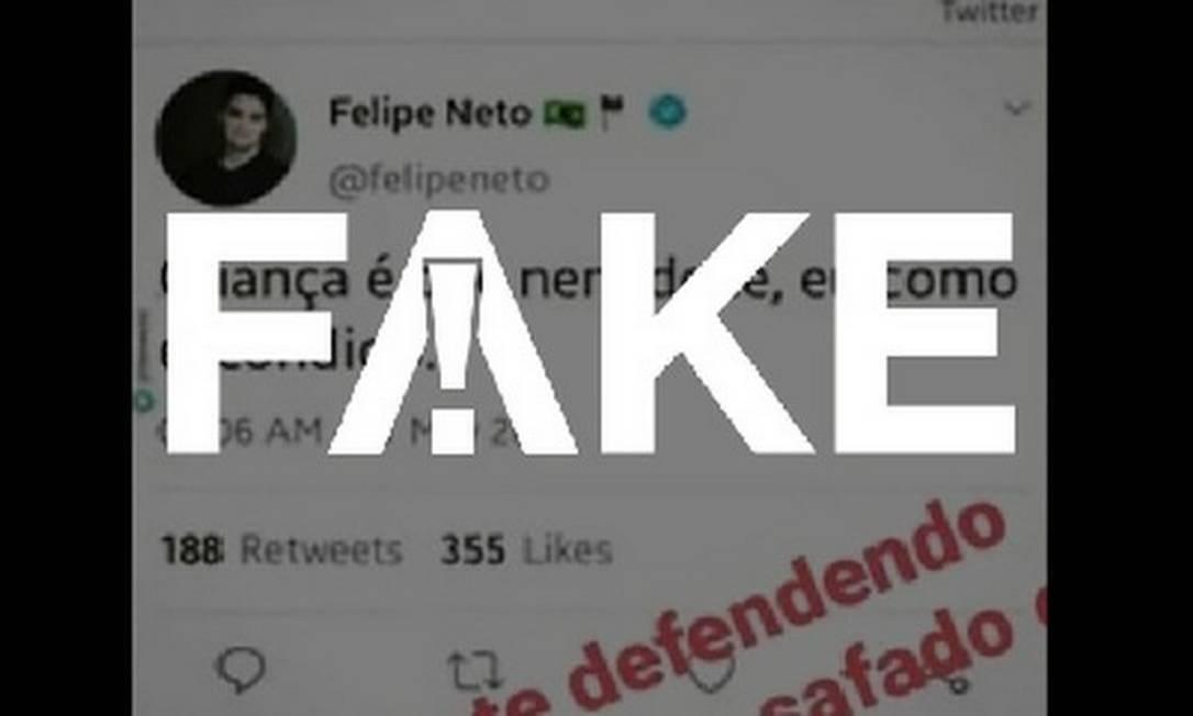 É #FAKE que Felipe Neto fez post pedófilo no Twitter associando crianças a doces Foto: Reprodução