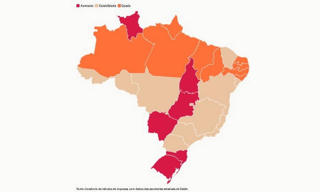 Estados em vermelho representam aumento na média móvel de mortes. Foto: Editoria de Arte