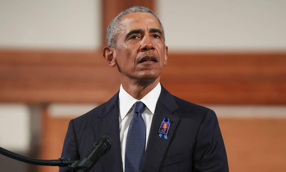 Ex-presidente americano Barack Obama durante o enterro do deputado e ativista pelo direitos civis, John Lewis Foto: ALYSSA POINTER / AFP