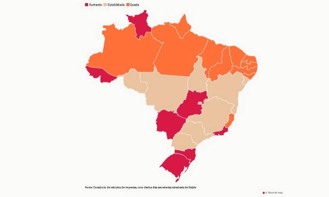 Estados em laranja são os que demonstram tendência de queda. Em vermelho estão aqueles em alta e em salmão, os em estabilidade. Foto: Editoria de Arte