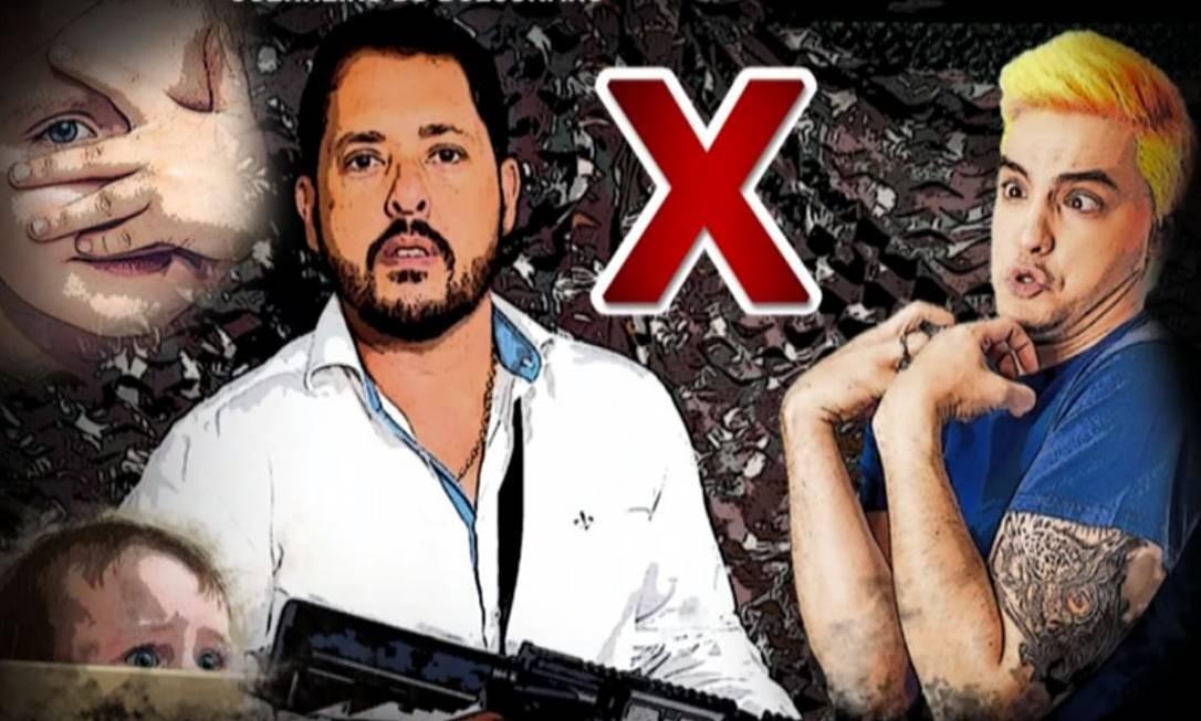 Em montagem compartilhada em seu perfil nas redes, Cavalieri aparece com fuzil ao lado de Felipe Neto Foto: Reprodução