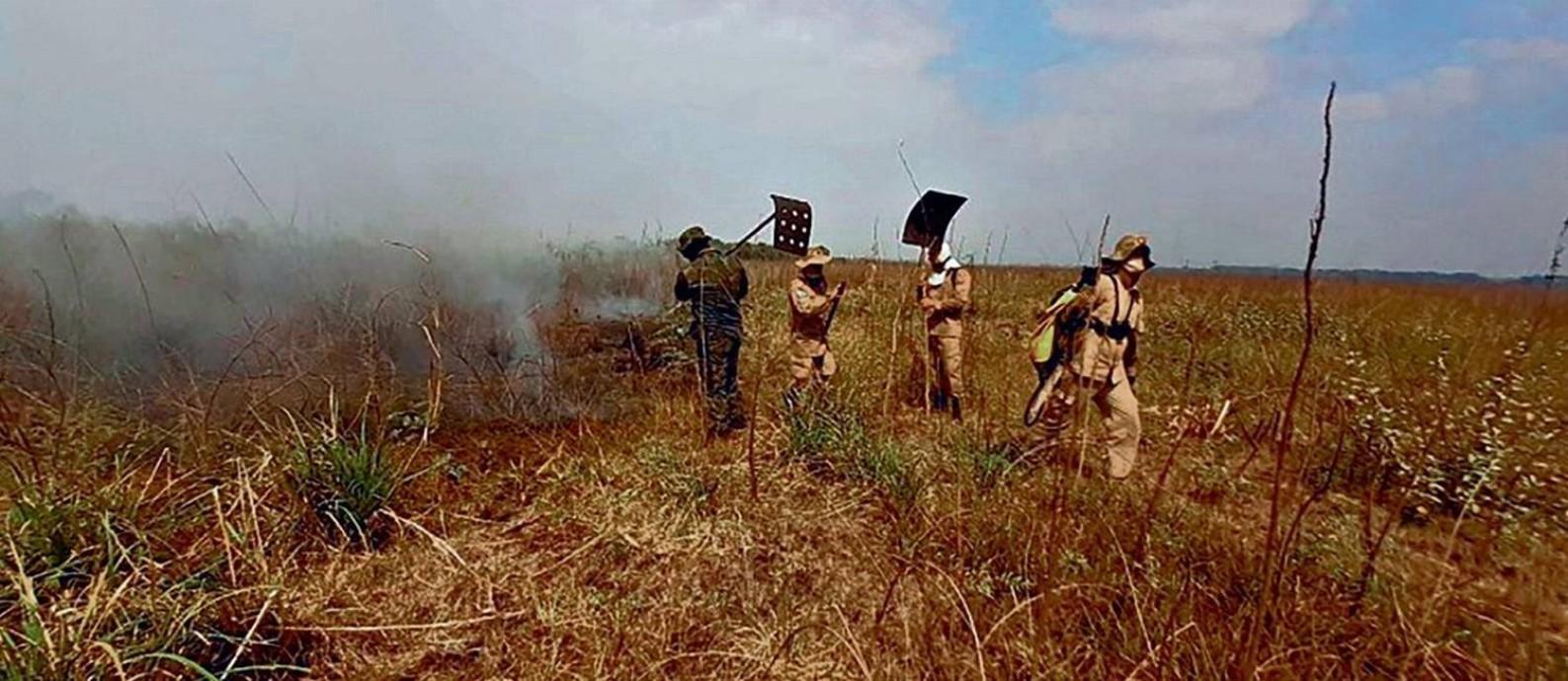 Bombeiros combatem queimadas no Pantanal: corporação foi reforçada por efetivo das Forças Armadas Foto: Divulgação/Corpo de Bombeiros Militar de Mato Grosso do Sul