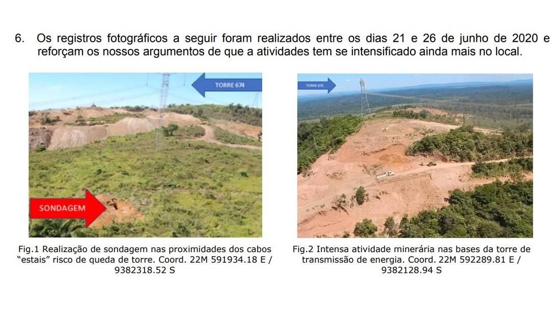 Garimpo ilegal ameaça derrubar linha de transmissão de energia no Pará. Imagens foram anexadas pela empresa em carta enviada à Aneel Foto: Reprodução