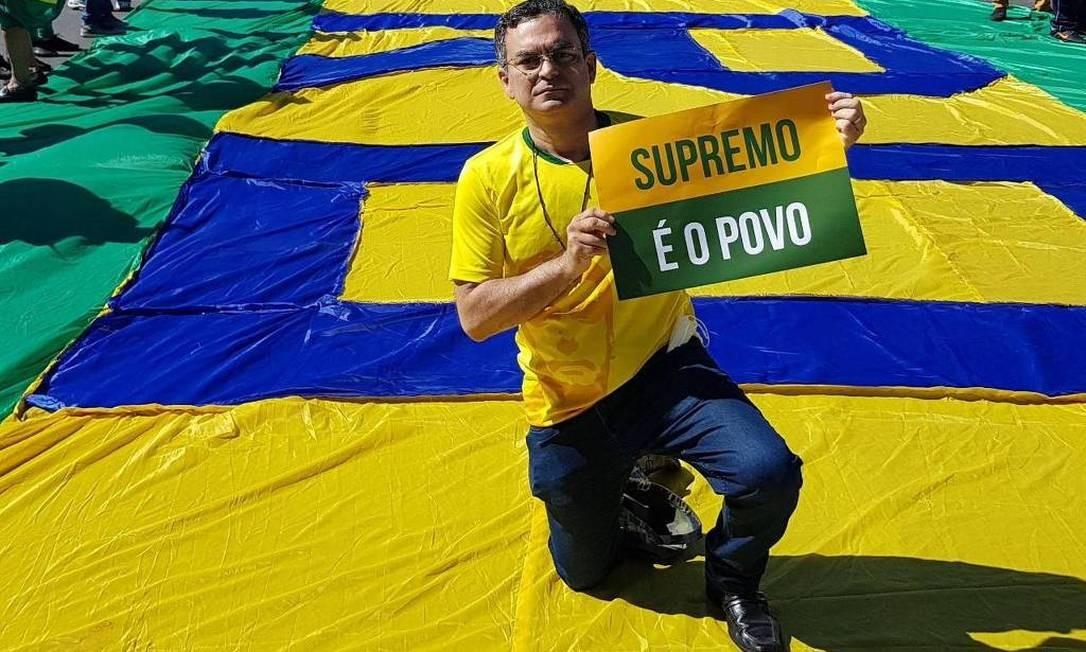Allan Quadros Garcês, em ato de apoio a Jair Bolsonaro Foto: Reprodução/Instagram
