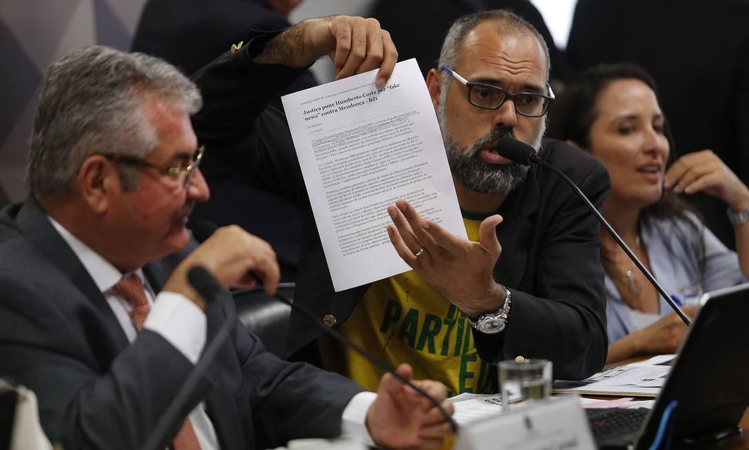 Allan Santos durante depoimento na CPMI das Fake News, no Senado, em novembro de 2019 Foto: Jorge William / Agência O Globo