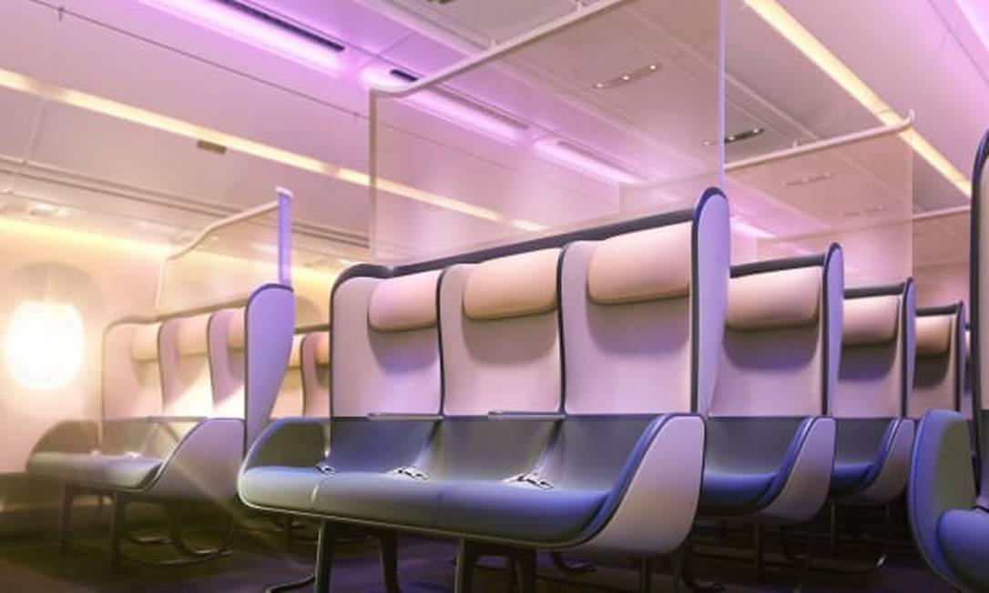 Assentos terão divisórias para proteger passageiros e painel dividirá as fileiras para evitar contato Foto: PriestmanGoode