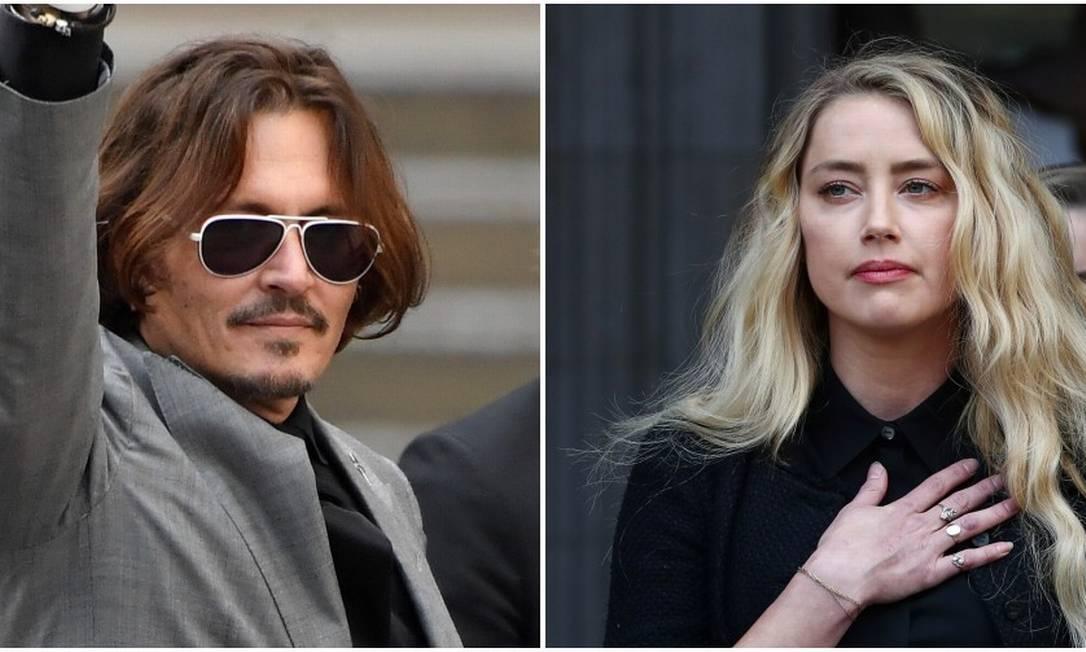 O ex-casal de atores Johnny Depp e Amber Heard, em encontro no tribunal Foto: Colagem de fotos de Toby Melville/Reuters (Depp) e Simon Dawson/Reuters (Amber)