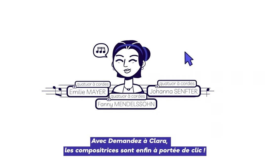 Apelidada de 'Demandez à Clara' (Pergunte a Clara, em tradução do francês), em referência à pianista e compositora Clara Schumann, plataforma resgata a presença feminina na música clássica Foto: Reprodução