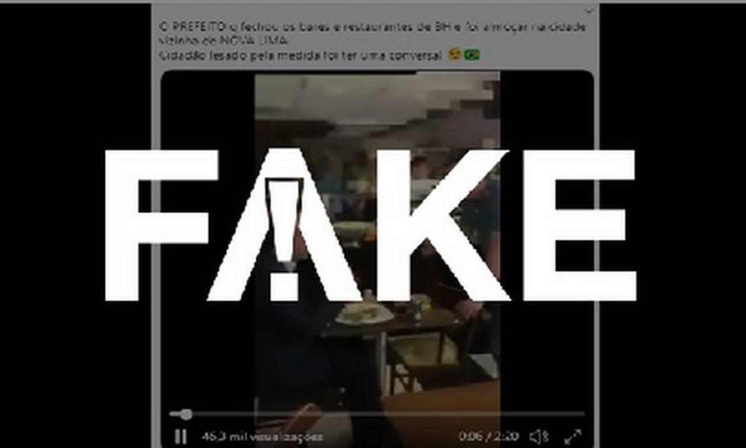 É #FAKE que vídeo mostre prefeito de BH sendo cobrado por isolamento em restaurante de Nova Lima em meio à pandemia Foto: Reprodução