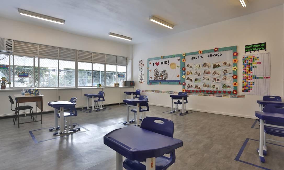 CEL, escola privada do Rio, com distanciamento social Foto: Fabio Rossi / Agência O Globo