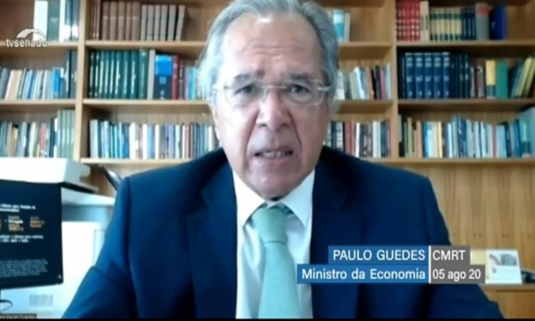 O ministro da Economia, Paulo Guedes, participa de audiência no Congresso sobre a reforma tributária Foto: Reprodução