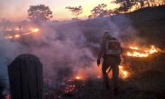 Incêndio no Mato Grosso: em julho, Pantanal teve 1.669 focos de calor, maior índice desde 1998 e quase sete vezes mais do que a média para o mês de 2009 a 2019 Foto: Corpo de Bombeiros de MT / Divulgação