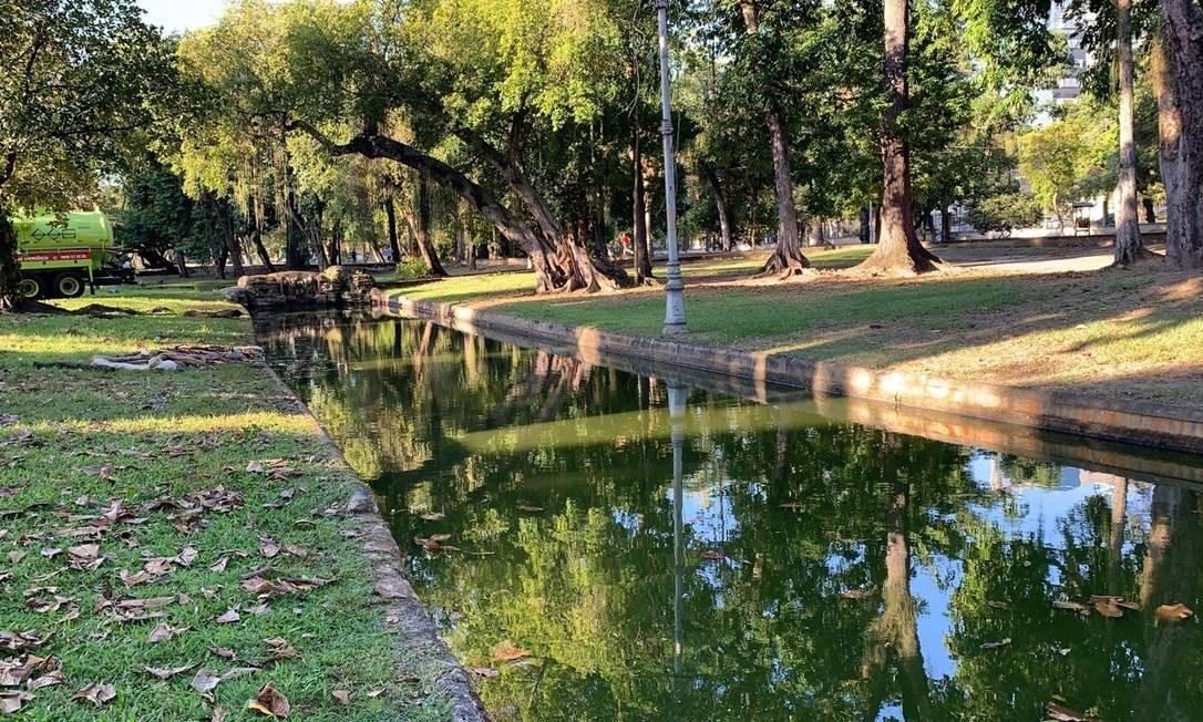 Lago da Quinta da Boa Vista foi limpo após aparecerem manchas de óleo e mau cheiro nos canais Foto: Divulgação/Inea