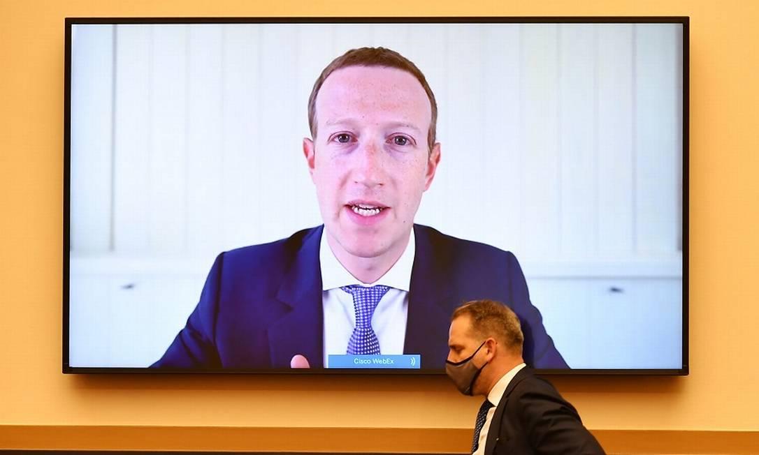 Mark Zuckerberg depõe em audiência sobre práticas anticoncorrência no Congresso americano. Foto: POOL / REUTERS