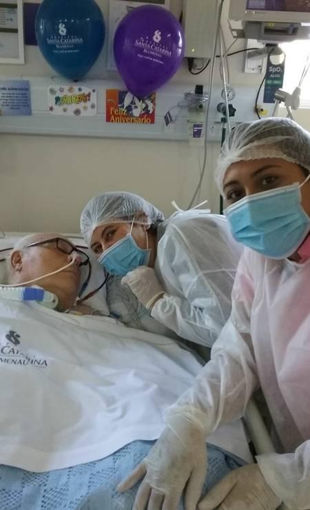 Hospital permitiu a visita da filha e da neta de Renaud em seu aniversário Foto: Arquivo pessoal