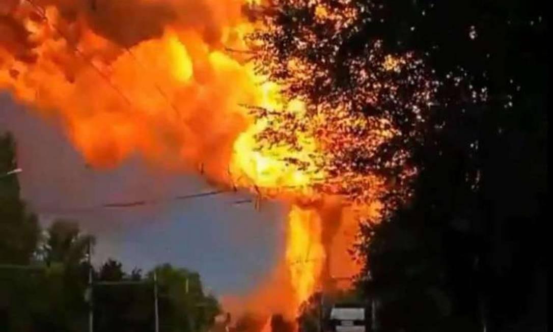 Explosão em posto de gasolina na Rússia deixou ao menos 13 feridos Foto: Reprodução