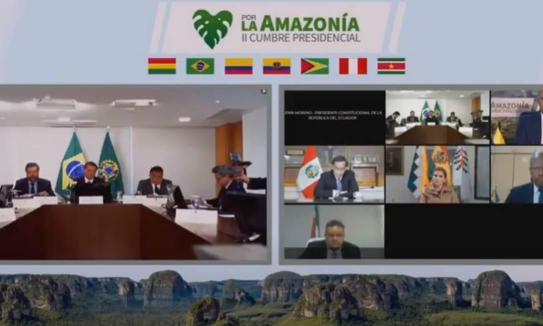 O presidente Jair Bolsonaro participa de cúpula com presidentes da Amazônia Foto: Reprodução/Youtube