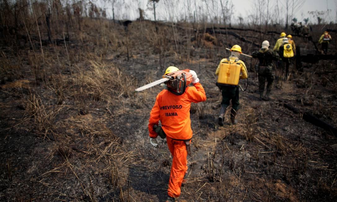 Membros da brigada de incêndio e soldados do Exército do Instituto Brasileiro do Meio Ambiente e dos Recursos Naturais Renováveis (Ibama) tentam controlar pontos quentes em uma área da selva amazônica perto de Apuí, no Amazonas, Brasil Foto: UESLEI MARCELINO / REUTERS