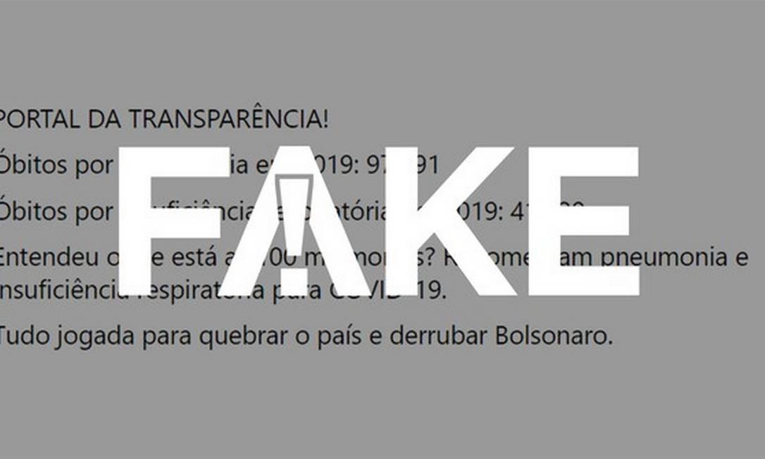 É #FAKE que mortes por pneumonia e insuficiência respiratória têm sido todas registradas como sendo Covid-19 Foto: Reprodução