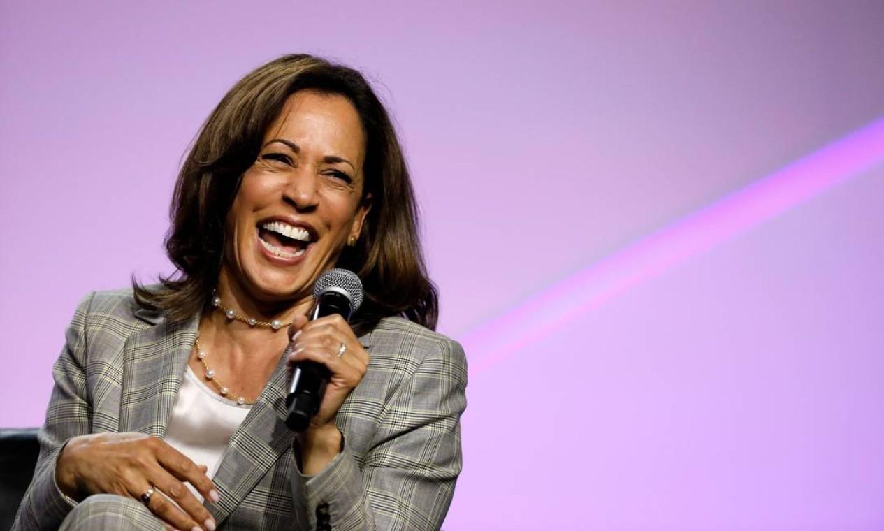 Harris foi anunciada no dia 11 como candidata a vice na chapa de Biden Foto: JEFF KOWALSKY / AFP