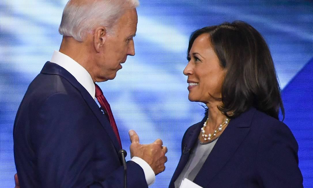 Biden apresenta sua vice, Kamala Harris, em primeiro evento conjunto de campanha, em Wilmington, Delaware. Foto: ROBYN BECK / AFP