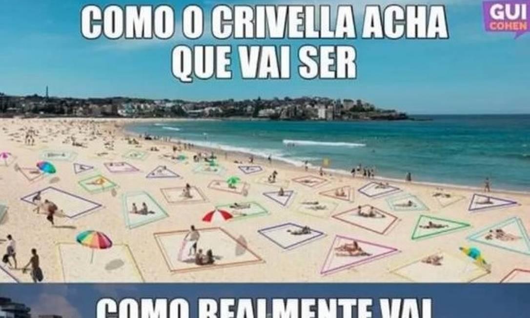 Memes sobre o cercadinho nas praias do Rio, um projeto do prefeito Crivella durante a pandemia da Covid-19 Foto: Reprodução/Instagram