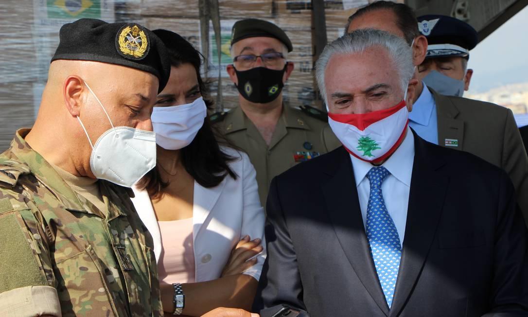 O ex-presidente Michel Temer chega a Beirute levando ajuda do Brasil Foto: Natália Rabahi