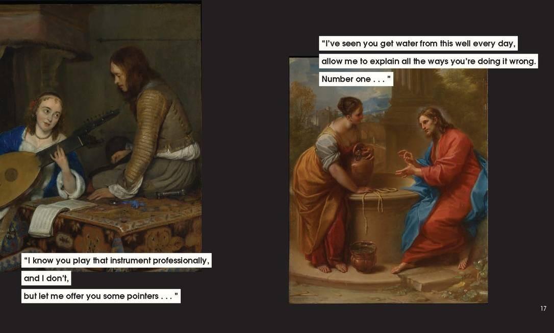 """Duas das imagens de obras de arte com legendas feitas por Nicole Tersigni para explicar o mansplaining. Na primeira: """"Eu sei que você toca esse instrumento profissionalmente e eu não. Mas me deixe oferecer algumas indicações. Na segunda: """"Vi que você pega água nesse poço todos os dias. Permita que eu explique as maneiras como faz isso errado. Número um..."""" Foto: CHRONICLE BOOKS / NYT"""