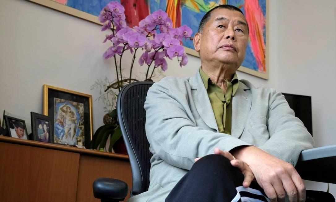 Magnata da mídia em Hong Kong Jimmy Lai Chee-ying, fundador do tablóide Apple Daily Foto: Tyrone Siu / REUTERS